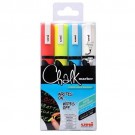 Uni Chalk Marker Medium Bullet Tip PWE-5M Line Width 1.8-2.5mm Wallet Assorted Ref 153528181 [Pack 4]