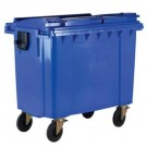 Wheelie Bin With Flat Lid 1100 Litre Blue 377394