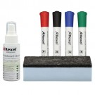 Rexel Whiteboard Cleaning Kit 4 Asst Dry-Erase Markers/Foam Eraser/Spray Cleaning Fluid Ref 1903798