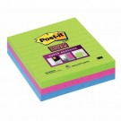 Post-it Super Sticky Removable Notes Pad 70 Sheets 100x100mm Ultra Assorted Ref 6753SS [Pack 3]