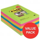 Post-it Notes Super Sticky XXL 101 x 152mm Ultra Colours (Pack of 6) 4690-SSUC-P4+2