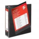 5 Star Office Presentation Ring Binder Polypropylene 4 D-Ring 50mm Size A4 Black [Pack 10]