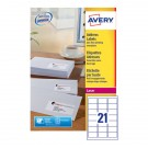 Avery Jam-Free Laser Address Label White 63.5 x 38.1mm 21 Per Sheet L7160-500 (Fpc)