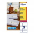 Avery Recycled Laser Label White Address 63.5X38.1Mm 21 Per Sheet Lr7160-100
