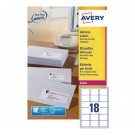 Avery Jam-Free Laser Label 63.5 x 46.6mm 18 Per Sheet White L7161-100 (Fpc)