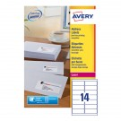 Avery Jam-Free Laser Label 99.1 x 38.1mm 14 Per Sheet White L7163-100 (Fpc)