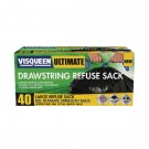 Visqueen Ultimate Drawstring Refuse Sack 80 Litre Black (Pack of 40) RS057770