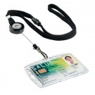 Durable Textile Lanyard With Badge Reel Black (Pack of 10) 8223/01