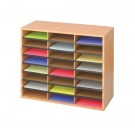 Safco 24 Medium Oak Wood Literature Organiser - Postal Sorters