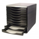 Q-Connect Black/Grey 10 Drawer Tower KF02254 - Drawer Sets