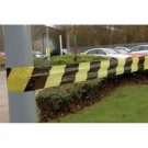 Tape Barrier Black/Yellow Stripe 75mm x 500 Metres