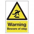 SAFETY SIGN WARNING BEWARE OF STEP A5 PVC HA21451R