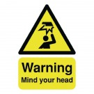 Warning Mind Your Head A5 Self-Adhesive Safety Sign HA25551S - Yellow Warning Signs
