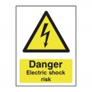 Danger Electric Shock Risk A5 PVC Safety Sign HA10751R - Workplace Danger Signs