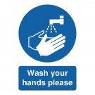 Wash Your Hands Please A5 Self-Adhesive Safety Sign MD05851S - Safety Signs Workplace