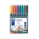 Staedtler Lumocolour Universal Pen Permanent Fine Assorted (Pack of 8) 318-WP8