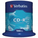 Verbatim CD-R Datalife Non-AZO 80minutes 700MB 52X Non-Printable Spindle (Pack of 100) 43411