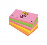 3M Neon Rainbow Pack Of 5 Super Sticky Post-It Notes 76X127mm 660-3SSUC