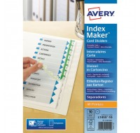 Avery 10-Part White Punched A4 Index Maker Dividers 01812061 (FPC) - File Dividers