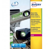 Avery Laser Label 199.6 x 143.5mm Heavy Duty Weatherproof 2 Per Sheet White L7068-20
