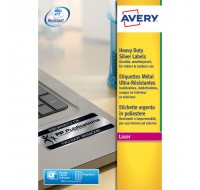 Avery Laser Label 45.7 x 21.2mm Heavy Duty Weatherproof Silver 48 Per Sheet L6009-20