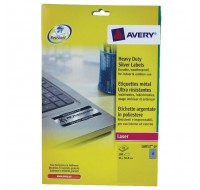 Avery Laser Label 96 x 50.8mm Heavy Duty Weatherproof Silver 10 Per Sheet L6012-20