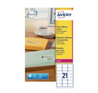 Avery Clear Laser Label 21 Per Sheet L7560-25