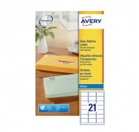Avery Clear Inkjet Label 63.5 x 38.1mm 21 Per Sheet J8560-25