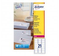 Avery Jam-Free Laser Label 63.5X38.1Mm 21 Per Sheet White L7160-40 (Fpc)