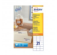 Avery Multi-Purpose Label 70 x 42.3mm 21 Per Sheet White 3652