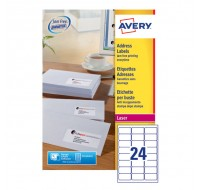 Avery Jam-Free Laser Address Label 24Tv 64X34Mm 24 Per Sheet White L7159-250 (Fpc)