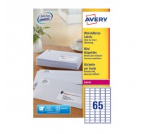 Avery Laser Mini Address Label 38.1X21.2Mm 65Tv Per Sheet White L7651-250 (Fpc)