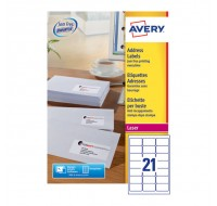 Avery Jam-Free Laser Address Label White 63.5X38.1Mm 21 Per Sheet L7160-250 (Fpc)
