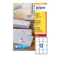 Avery Jam-Free Laser Label 63.5 x 72mm 12 Per Sheet White L7164-100 (Fpc)