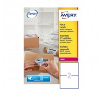 Avery Jam-Free Laser Label 199.6X143.5Mm 2 Per Sheet L7168-250 (Fpc)