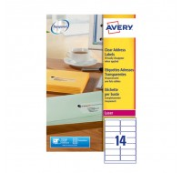 Avery Clear Laser Label 99.1 x 38.1mm 14 Per Sheet L7563-25