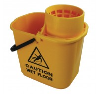 Caution Wet Floor 15 Litre Yellow Mop Bucket Wringer SM15YL - Cleaning Buckets