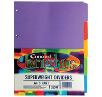 Concord 5-Part Assorted Bright Heavy-Weight A4 Dividers 52599/525 - File Dividers