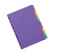 Concord 10-Part Heavy-Weight Assorted Bright A4 Dividers 52699/526 - File Dividers