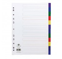 Concord 12-Part Multi-Colour Plastic A4 Dividers 65999 - File Dividers