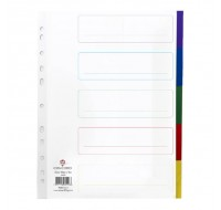 Concord 5-Part Multi-Colour Extra-Wide A4 Plastic Dividers 66099 - File Dividers
