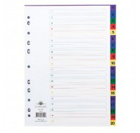 Concord 1-20 Multi-Colour A4 Plastic Index 66599 - Numbered Index