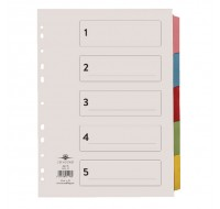 Concord 5-Part Printed A4 Subject Dividers 71198/PJ11 - File Dividers