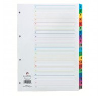 Concord 1-20 White A4 Index With Multi-Colour Tabs 01901/CS19 - Numbered Index