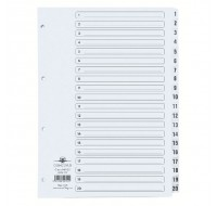 Concord Classic 1-20 White Board A4 Index With Clear Mylar Tabs 00701/CS7 - Numbered Index