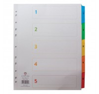 Concord 1-5 White A4 Index With Multi-Colour Tabs 09601/CS96 - Numbered Index