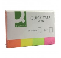 Q-Connect 20x50mm Neon Quick Tabs KF01226 - File Folders Tabs