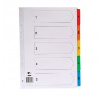 Q-Connect 1-5 Multi-Punched A4 Index With Reinforced Multi-Colour Tabs KF01518 - Numbered Index