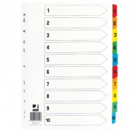 Q-Connect 1-10 Multi-Punched A4 Index With Reinforced Multi-Colour Tabs KF01519 - Numbered Index