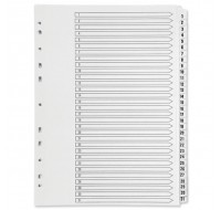 Q-Connect 1-31 Multi-Punched Reinforced White Board A4 Index With Clear Tabs KF01936 - Numbered Index